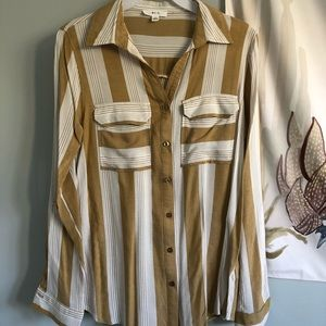 yellow and white striped button down top